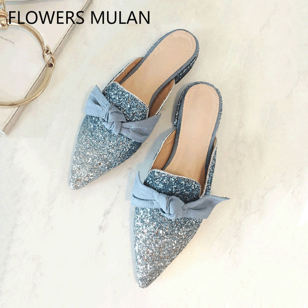 Hanbaidi Luxury Design Sequined Cloth Bling Bling Women Slippers Fashion Bowknot Pointed Toe Slip On Outfit Shoes Zapatos Mujer