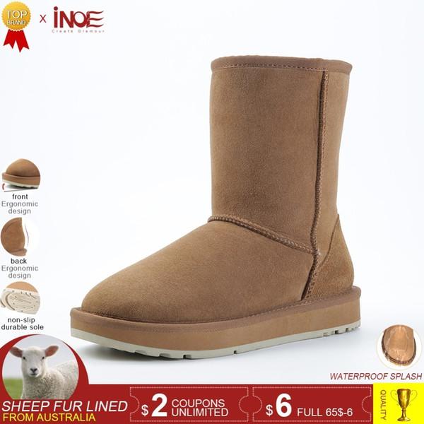 Gerçek koyun derisi deri süet kış kar botları kadınlar için koyun yün kürk astarlı kış ayakkabı yüksek kalite siyah kahverengi 34-44