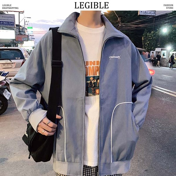 LEGIBLE Printemps Automne Hommes Veste Casual Loose Korea Veste Hommes Solide Lettre Imprimer Hommes Veste Manteau Streetwear Hommes