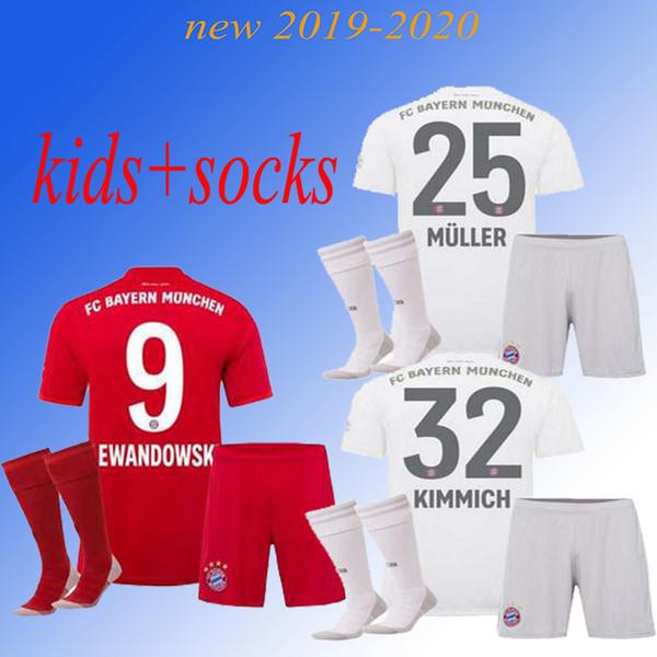 2019 2020 Bayern de Munique JAMES VIDAL RIBERY LEWANDOWSKI MULLER ROBBEN home away 3 camisas de futebol 19 20 kids + socks kit esportes Camisa de futebol
