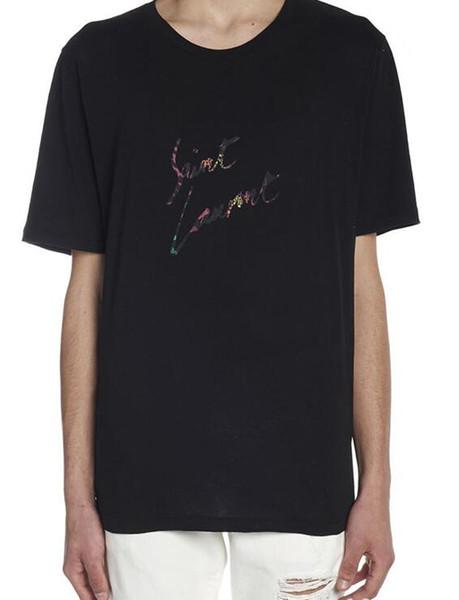 202ss nueva camiseta informal de verano Hombres Mujeres XXL Casualsanto camiseta de la impresión del patrón del equipo de moda de algodón de cuello de manga corta