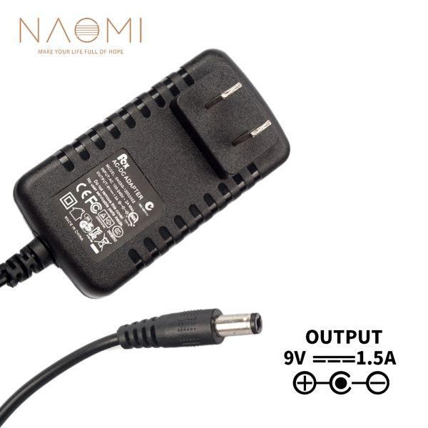 NAOMI Cargador de fuente de alimentación 9V 1.5A EE. UU. Adaptador de adaptador de fuente de alimentación Negro para pedal de efectos de guitarra Enchufe de EE. UU. Accesorios de guitarra