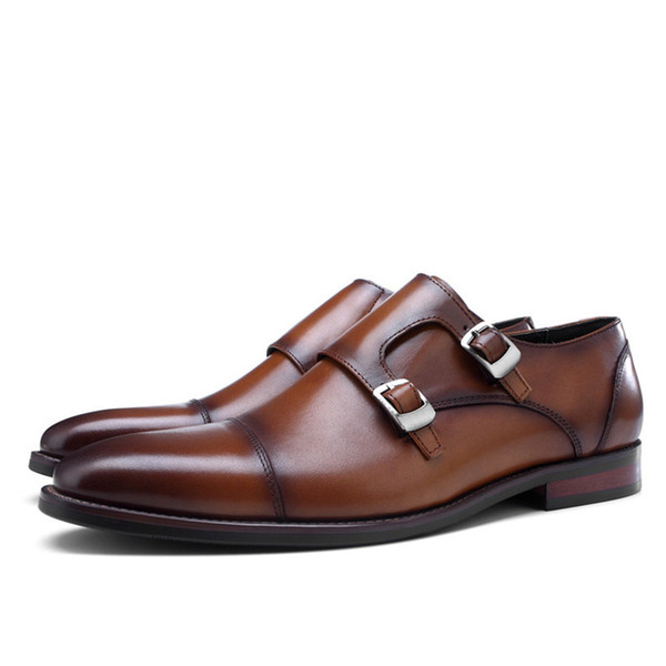 Fashion Black / Blue / Brown Double Monk Strap Mens Business Dress Shoes Genuine Leather Office Shoes Male Wedding Groom