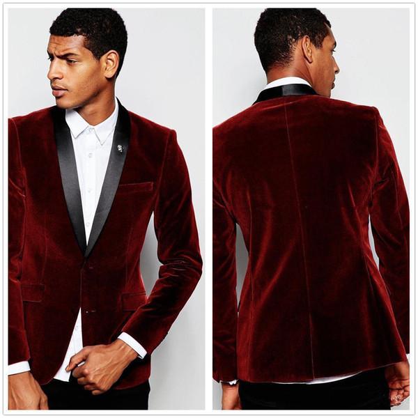 Bordo erkek Takım Elbise Ceket Kadife Şarap Kırmızı Takım Damat Sağdıç Düğün Smokin Blazer Ceket Tek Parça Bestman Greatcoat