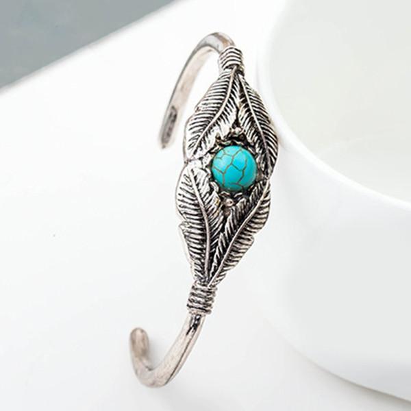 Feuille ouverte de plume turquoise Vintage meilleur cadeau cadeau de vacances Simple bracelet classique créatif