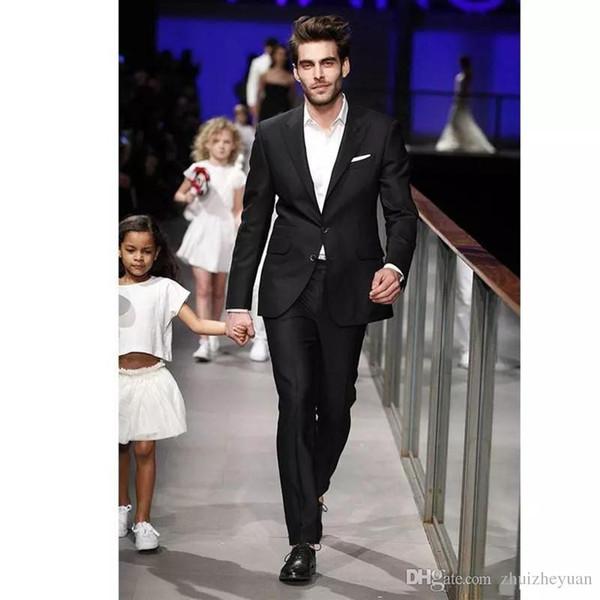 Cheap Black Men Suit Wedding Tuxedos Peaked Lapel 2 Buttons Slim Fit Wedding Tuxedos Custom Business Men Suit Set(Jacket+Pant)
