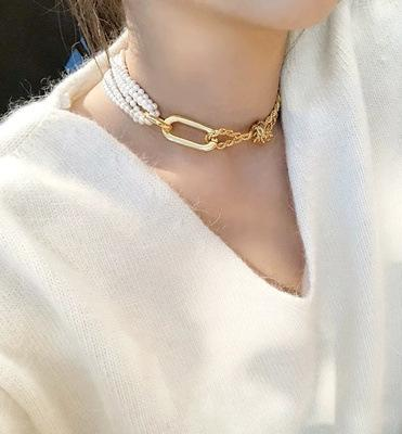 Design Pearl Metal Connection Necklaces Women's Clavicle Chain Choker Collares