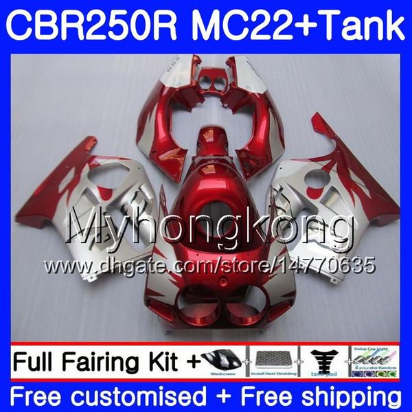 Injection +Tank For HONDA CBR 250RR CBR250RR 90 91 92 93 94 263HM.3 MC22 CBR 250 CBR250 RR 1990 1991 1992 1993 1994 stock Dark red Fairing