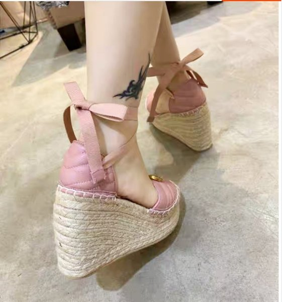 2019 spring bow with one-word ribbon grass woven fisherman's shoes wedges sandals for women
