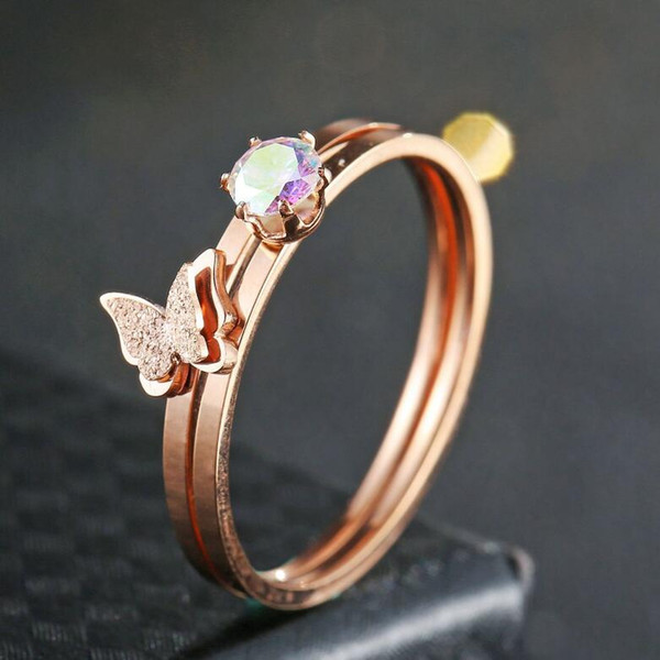 designer jewelry titanium steel rings butterfly rings sets zirconrose gold color rings for women hot fahsion