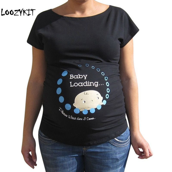 Loozykit 2019 Summer Pregnancy Cartoon Tee Baby Print Cotton Women Maternity Pregnant Short Sleeve T-shirt Funny Top Plus Size
