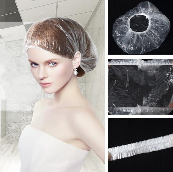 1000 unids / lote desechables gorros de ducha a prueba de agua baño de baño elástico sombrero de ducha claro salón de baño gorro de limpieza del hotel suministros 5015