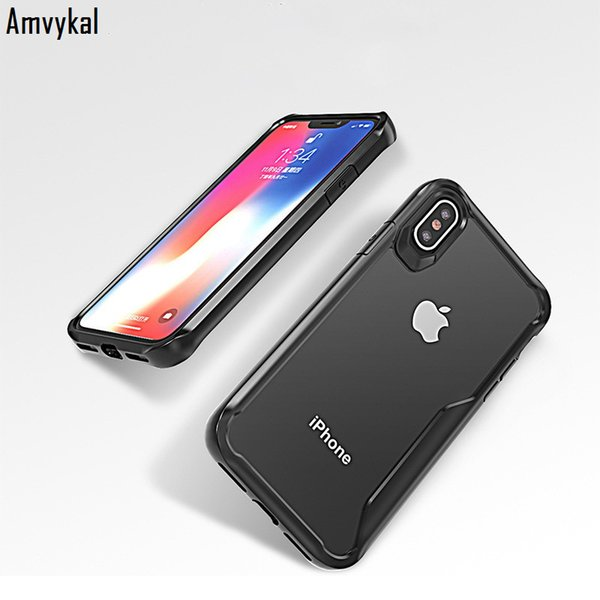 Amvykal For Samsung Galaxy S8 S9 Plus Note 8 9 Case Shockproof Soft Silicone Frame Bumper Glossy Hard PC Acrylic Clear Cover