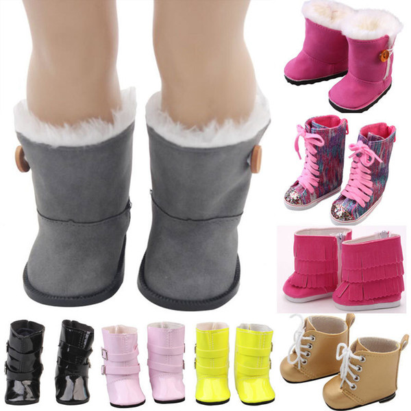 15 Styles 18 Inch Girls Dolls Fur Snow Boots Shoes For 43cm Baby Doll Or Alexander Doll Accessory Girl Best Gift