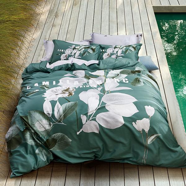 King Size Bedding Sale.Summer Soft Queen King Size Bedding Set Super Soft 100 Cotton Bed Sheets Set Green Bed Set Duvet Cover Rubber Fitted Sheet Duvet For Sale King Duvet