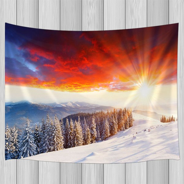 Nuvole rosse e montagne di neve Arazzo Parete Hanging Living Room Bedroom Decor