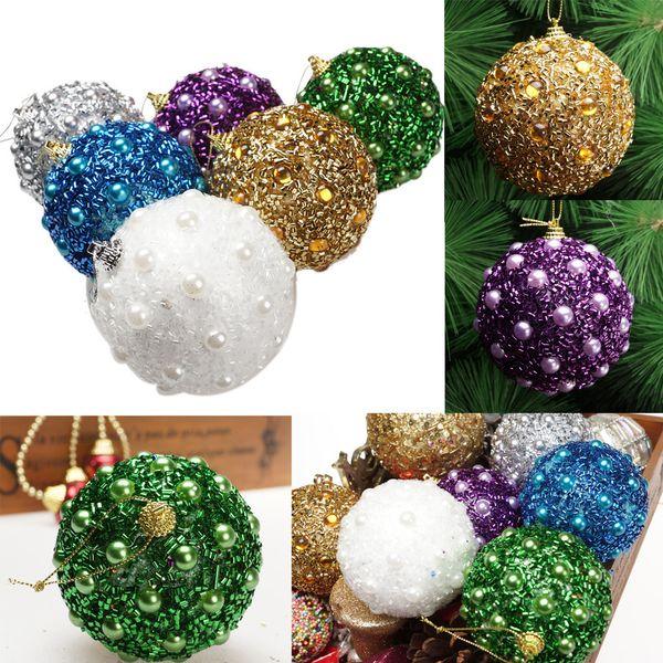 Personalized Christmas Balls.8cm Christmas Rhinestone Glitter Baubles Balls Xmas Tree Ornament Decor Sticky Diamond Beads Sequins Upscale Christmas Balls 25 Personalised