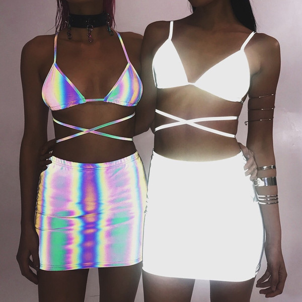 Women Silver Sexy Suits Summer 3M Reflective Designer Bras Skirts 2pcs Clothing Set Hiphop Evening Club Dressing Suits