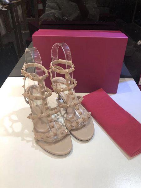 Moda Lüks Tasarımcı Kadın Ayakkabı Perçinler Yaz Muhtasar Ince Topuk Yüksek Sandalet 9 cm Yüksek Topuklu Boyutu 35-41