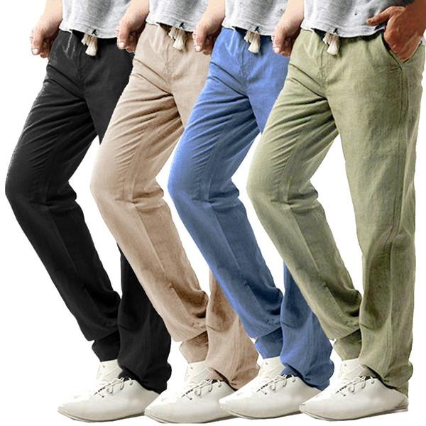 2019 мужские летние брюки повседневные тонкие Strandhosen льняные брюки из сплошного цвета брюки мужские дышащие тонкие льняные брюки-карго c0605
