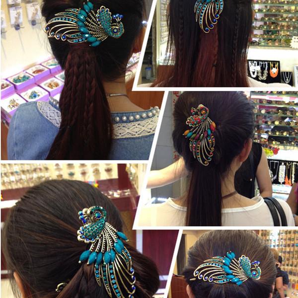 Femmes Filles Cristal Peacock Barrettes Outils Rétro Bohême Beauté Duckbill cheveux Pin Claw Clamp