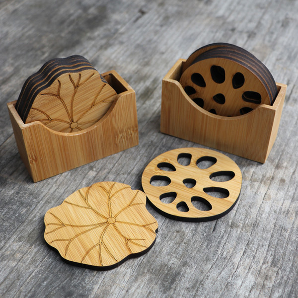 Natural Bamboo Drink Coaster Set Round Creative Placemat Cup Mat Pad Coffee Cups Porta Copos Home Decoration Saucer Insulation Q190606