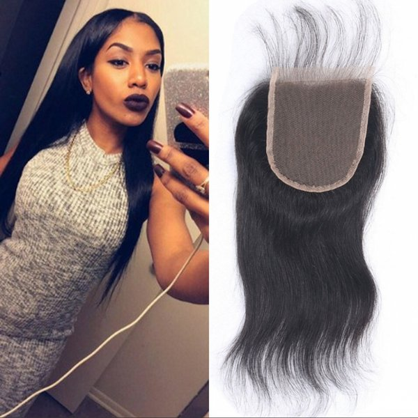 Brazilian Virgin Hair 4*4 Lace Closure 100% Human Hair Straight Top Closures Bleached Knots 8-20 inch Ping