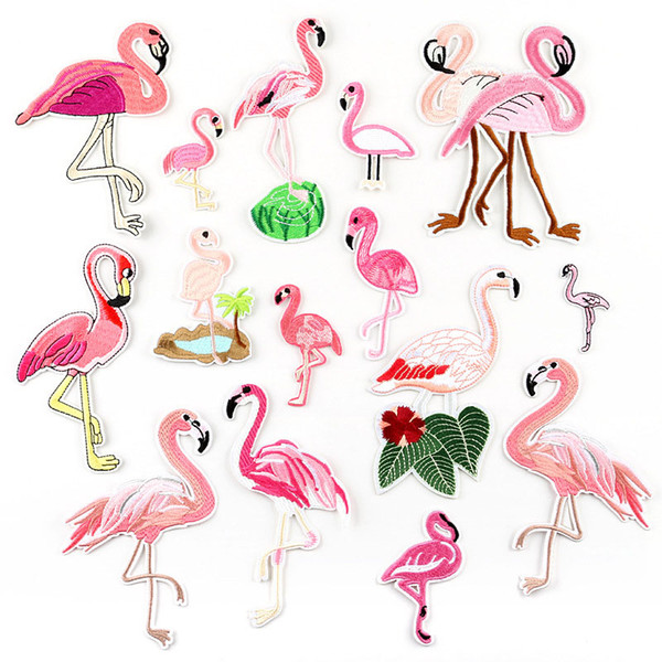 15pcs Pink Flamingo Birds Embroidery Patches Summer Tropical Fabric Sew Iron On Applique DIY Badge Patch For Kids Clothes Jacket Garment