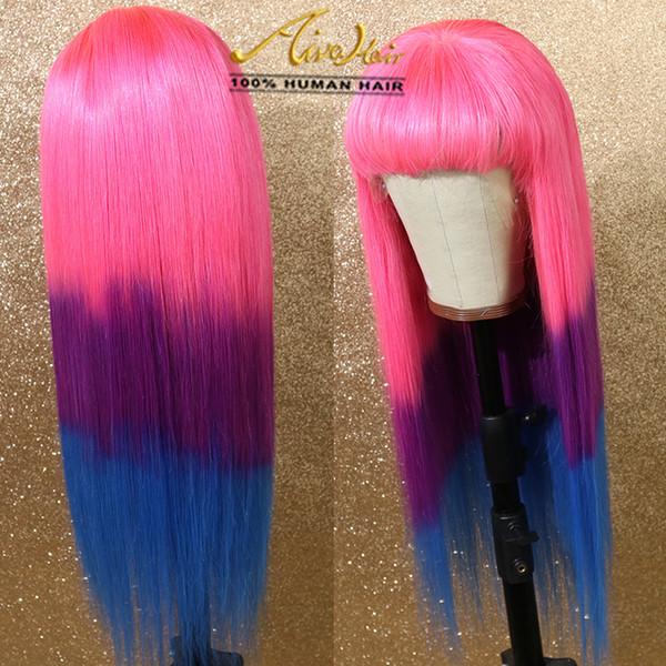AIVA полный шнурок человеческих волос Розовый Ombre Фиолетовый Ombre синий парик с волосами младенца шелковистая прямая Transparent Красочный Полный Remy Glueless парики