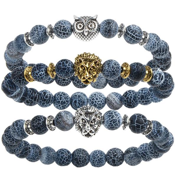Leopard Tiger Eye Lion Head Bracelet Owl Buddha Bead Bracelets Bangles Skull Charm Natural Stone Bracelet yoga Jewelry Men Women New fashion