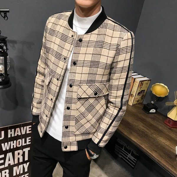 New Autumn Winter New Jacket Men Korean Version Trendy Plaid Thicker Single Breasted Woolen Men's Coat Slim Fit Coat Jacket