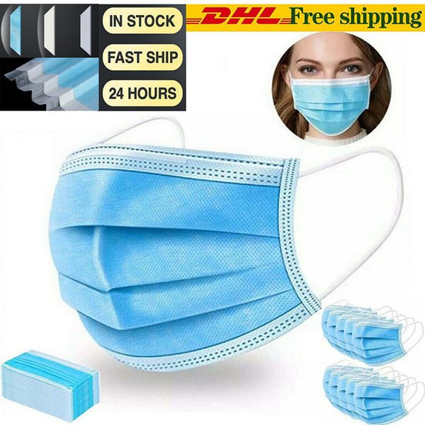 top popular 200 pcs DHL Free In Stock Disposable Face Masks with Elastic Ear Loop 3 Ply Breathable Comfortable for Blocking Dust Air Pollution Protectio 2020