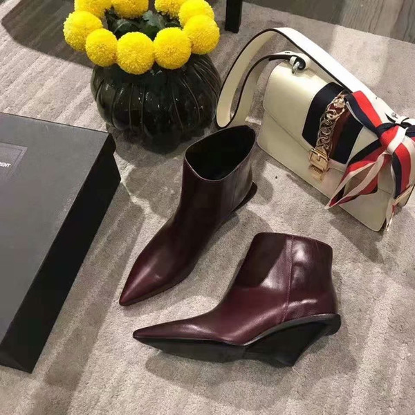 DHL free Unique personality style small pointed cattle leather upper women's boots Top fashion brand spring new sexy elegant women's shoes