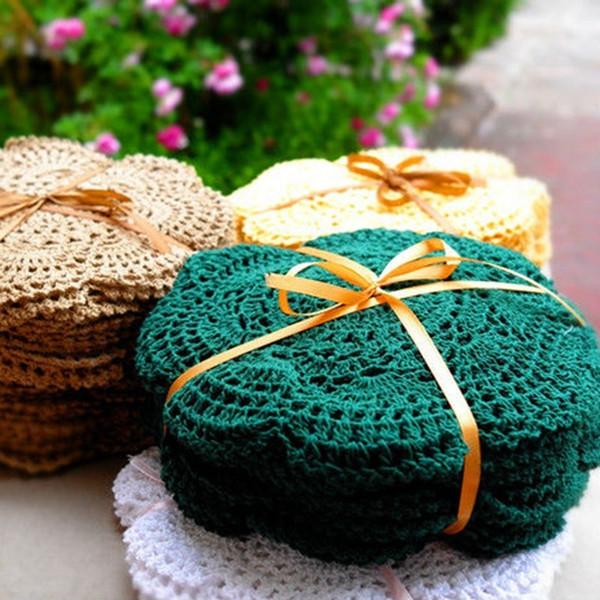 6 pcs / ensemble main nappe au crochet fleur coloré napperon Shabby Chic Vintage Look au Napperon Crochet 20cm / 7.9 pouces D19010902