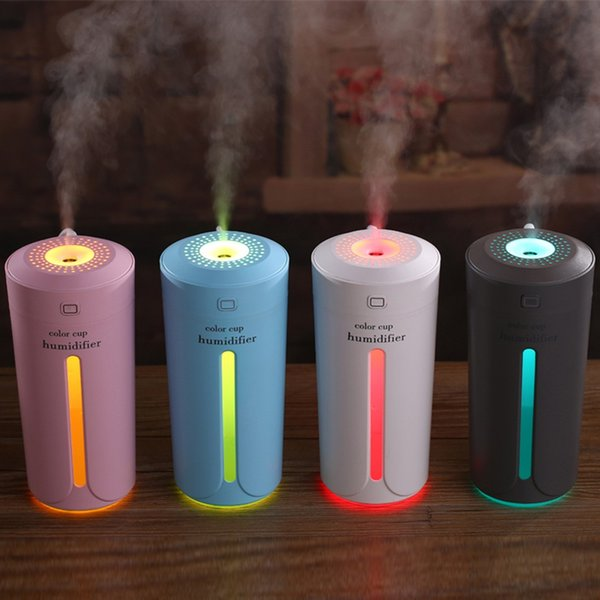 best selling Mini Ultrasonic Air Humidifier Aroma Essential Oil Diffuser Aromatherapy Mist Maker 4 Color Portable USB Humidifiers for Home Car Bedroom