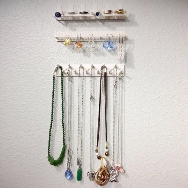 9PCS / Set Adhesivo Soporte de joyería Embalaje Exhibición de la joyería Estante Ganchos adhesivos Pendiente Collar Colgador Organizador Montaje en pared Blanco