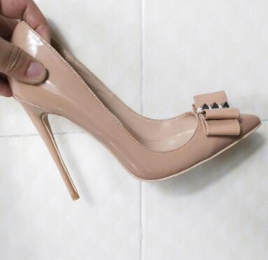 Di vendita calda donne di modo di pompe nudo brevetto punto fiocco in pelle punta scarpe tacchi alti a spillo tacco pompe real photo nuovo 100 millimetri 120 millimetri
