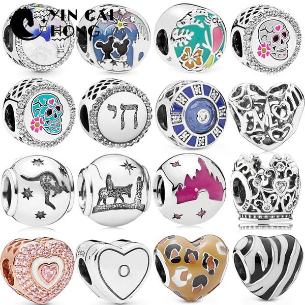 FAHMI 100% 925 Ayar Gümüş Yeni Kalpler Kanguru Taç Kale Ölülerin Günü DIY Doğum Günü Hediye Bilezik Aksesuarları Charm Boncuk