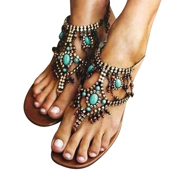 Casual Bohemian National Wind Comfortable Beaded Pin Flat Sexy Women's Sandals african italian shoes and bags set wedding #7