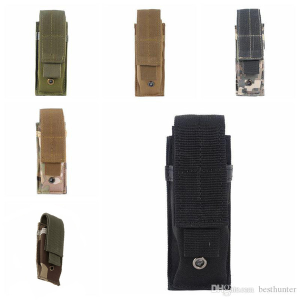 best selling Tactical Molle Pouch Tactical Single Pistol Magazine Pouch Knife Flashlight Sheath Airsoft Hunting Ammo Camo Bags Tactical Waist Packs.