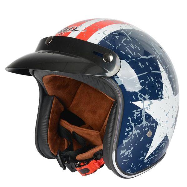 Free Shipping Motorcycle Helmet Retro Vintage Cruiser Chopper Scooter Cafe Racer Cascos Moto Helmet 3/4 Open Face E22