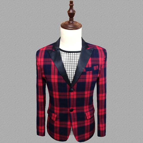 lattice blazer men suits designs jacket mens stage costumes for singers clothes dance star style dress punk rock masculino homme