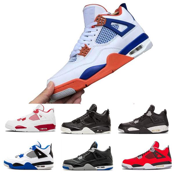 2019 New 4SS Chaussures de basket-ball des femmes des hommes Laser Gum Black Thunder Libre Tattoo Hot Lava Rapotors Designer Chaussures de sport IVs pur Formateurs argent