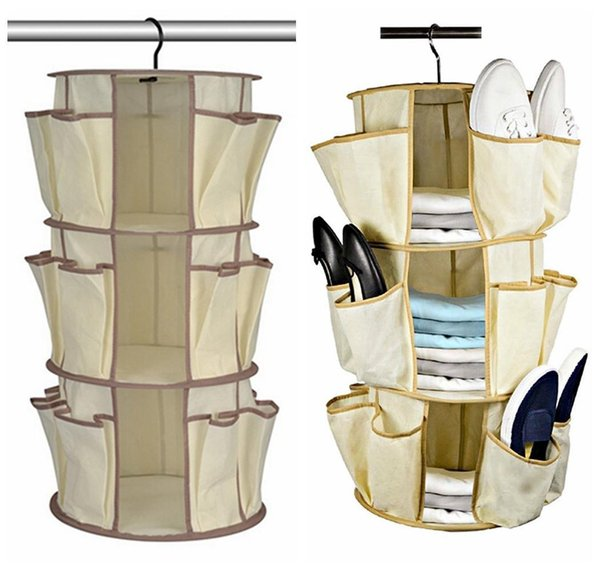 Shoe Carousel Closet Organizer 2 Tier Hanging Space Saver 25 Pockets For Shoes Clothes Bags Dda510