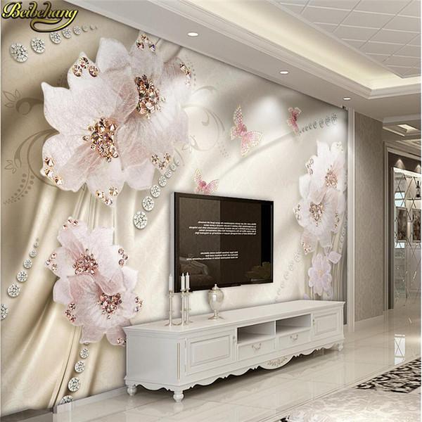 Custom photo wallpaper wall murals wall stickers luxury diamond flowers 3d jewelry TV wall murals papel de parede