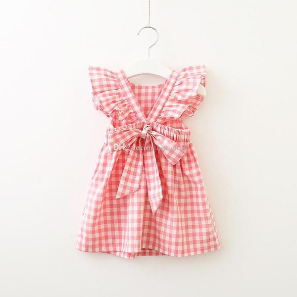 Bébé robe treillis enfants mouche manches Plaid princesse robe 2019 mode estivale Kids Clothing Boutique V Backless filles robe 2 couleurs C5777