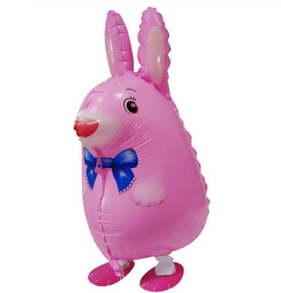 Walking Animal Balloons Pink Rabbit Aluminium Foil Ball Toy & Gift Birthday Party Supplies Kids Balloons Animal Theme 50PCS