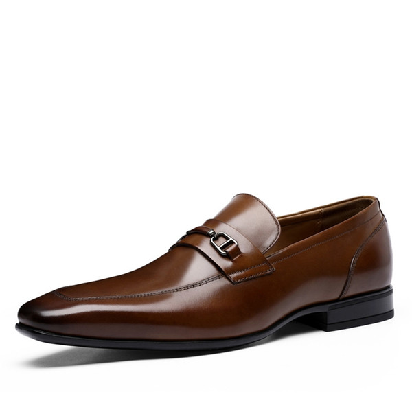 Top Handmade Genuine Leather Groom Wedding Shoes Cowhide Best Men Shoes Slip On Oxfords Business Shoes Italian Pointed Toe Male Style Groom Wedding