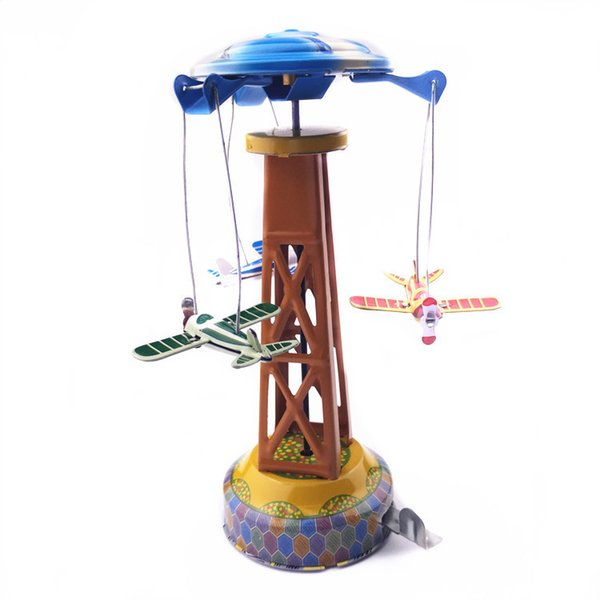 [TOP] Adult Collection Retro Wind up toy Metal Tin Amusement park Rotating plane Mechanical Clockwork toy figures kids gift