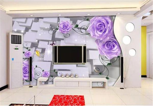 Compre Papel Tapiz Floral 3d Para Paredes Promorion 3d Dreamy Purple Rose Fondo De Tv Interior Decoración De Pared Papel Tapiz Mural A 2252 Del